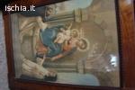 Quadro antico, con collana in oro e orecchini con piccoli di